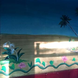fresque couloir camp palmier